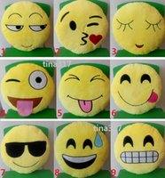 Wholesale 200pcs Styles Diameter cm Comfort Soft Emoji Smiley Emoticon Round Cushion Pillow Stuffed Toys Household Plush Cushion Doll