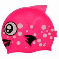 Cheap wholesale children cartoon fish swim cap free shipping weight 45g 100% silicone Material