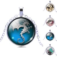 Wholesale 10pcs Halloween Pumpkin Festival Time Gem Cabochon Dragonevil Dragon Retro Silver Unisex Pendants Necklace Jewelry Christmas Gift
