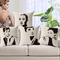 Wholesale Audrey Hepburn elegant grace lady Sofa Cushion Covers Patterns Super Star Linen Cotton Pillow Covers sofa set decor