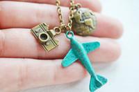 aeroplane airplane - 12pcs airplane necklace aviation aeroplane necklace globetrotter world traveler camera necklace patina plane necklace