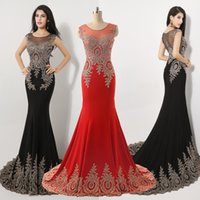 Wholesale Custom Amazing Black Red Crystal Prom Evening Dresses Sheer Neck Appliques Beads Real Image Wedding Party Gowns Arabic India