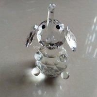elephant figurines - handcraft crystal sitting Elephant Figurine glass animals collection