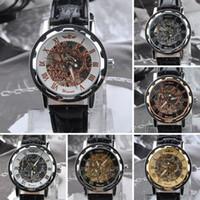 El mejor regalo !! 2015 numerales griegos Dial Relojes fresca Hombres hueco retro reloj mecánico de cuero de la nave libre de la vendimia Esqueleto Rueda de engranaje Tótem Reloj