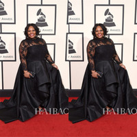 Wholesale 2016 The th Grammy Awards Tasha Cobbs Plus Size Evening Dresses Long Sleeves Lace High Neck Stain Formal Celebrity Dress Custom Made