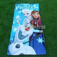 cotton beach towel - CM CM FROZEN Princess Towel Frozen Elsa and Anna cotton towels bathroom children beach towel kids bath towel DHL