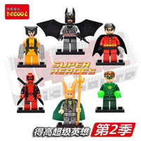 Wholesale 2016 New Super Heroes minifigures The avengers Loki Wollverine Robin Deadpool Batman Green Lantern Building Bricks Blocks