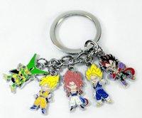 Wholesale Anime Dragon Ball Z Super Saiyan Keychain Metal Son Goku Vegeta Super Saiyan Figures Pendants Key Chain approx cm