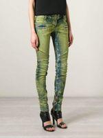 Cheap 2015 BALMAIN Womens Ribbed Zip Moto Skinny Denim Jeans Brand New Sz 26 28 29 30