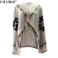 aztec knitwear - Women Aztec Cardigan Batwing Tassel Sweaters Vintage Geometric Knitwear Wool Blends Cardigan SWD0181