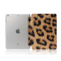 Wholesale PU Leather Case Smart Cover Leopard Print for iPad Air iPad Mini with Crystal Transparent Hard Shell