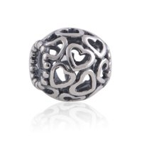925 beads - buy online silver Open Your Heart charms beads fit European beaded Bracelets for pandora style jewelry set No50 LW164