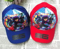 Wholesale Big Hero Children Baseball Caps Cartoon Baymax Peaked Cap Boy and Girl Mesh Hat Sun Hat Years Children Gift Newest