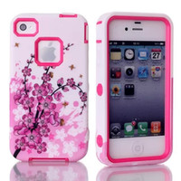 Wholesale New Fashion Peach Blossom PC Silicone Flower Case For iPhone iPhone S Cases Layers Hard Case Cover For iPhone4S Phone Shell Color