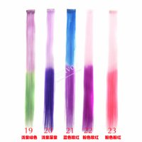 Wholesale Ombre Color cm Fashion Womens Highlight Colorful Popular Colored Clip On In Hair Extensions Heat resistant Hair piece FP12