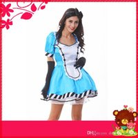 alice in wonderland theme party - Alice in Wonderland Maid Theme Costume Halloween Party Cosplay Suits Stage Performance Wear For Women w Blue