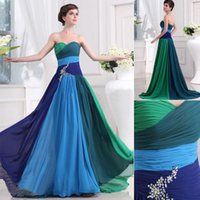 Wholesale Sweetheart Blue And Green Chiffon Appliques Floor Length Prom Dresses Bridesmaid Gowns Evening Dresses