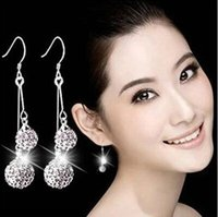 Wholesale 2016 Korean sterling silver crystal drop earrings double shambhala rhinestone ball earring woman fashion jewelry