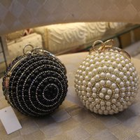 Wholesale Clothe Hand Bags - Ball Cute 2016 New arrival Ladies Prom party Hand Bags Beaded White And Black Bridal Handbags Bride Accessories Clothes Bag WWL