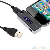 Wholesale 9368 Wireless mm Car LCD Display FM Transmitter Cable For iPhone S S ipod Touch VHX