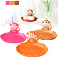 Wholesale 1 Monkey Soap Holder Plastic Travel Suction Wall Cup Soap Box Rack Decorative Dishes Shower Bathroom