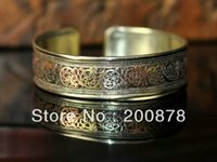 bb lucky - BB Tibetan metal Vintage lucky flower bangle mm antiqued dragon amulets open cuff bracelet Ge sang flower