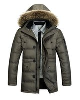 Wholesale 2014 Winter Men s Long Design Down Jackets Coats Mens Fashion Thick Warm Fur Collar Hooded Jacket for Men White goose down