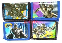 Wholesale NEW hot sell Batman kids Children Tri fold Fashion wallets purses bags with zip XMAS gifts party favor