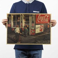 american culture art - 60 s the corner store historic culture adornment kraft paper Retro posters frameless restoring ancient ways Wall stickers