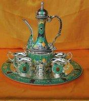 Wholesale Königliche retro familie verwenden kaffee tee sets für person für nahen osten familie Extravagantes design silber überzug mit weiß und