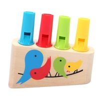 Wholesale Pieces Baby Toys Child Rainbow Panpipe Wooden Toys Birds Whistling Infant Musical Toy Eduactional Gift