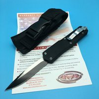auto edge - Microtech A07 Single Edge Troodon C HRC Auto Black Handle Dual action Combat Tactical knife outdoor Gear EDC knives Scarab BK