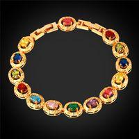 Wholesale Vogue Colorful Cubic Zirconia Bracelet Platinum Plated K Gold Plated Prong Setting Zircon Charm Bracelet for Women