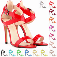 ankle cuff sandals - WOMENS LADIES Patent STILETTO ANKLE CUFF STRAP WOMENS HIGH HEEL STRAPPY SANDALS PEEP TOE SHOES FCL102 PA