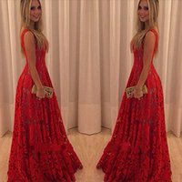 spandex clothing - Red Lace Sleeveless Big Hem Long Summer Dresses Women Sweet Girl Party Wear Spandex Wedding Evening Formal Clothes Size S M L XL