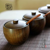 Wholesale High quality Japanese tableware spices seasoning cans wooden salt shaker spoon J78