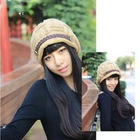 Wholesale 2015 Christmas Slouch Beanies Button Hats Knitted Crochet Baggy Skullies Beret Cap Hat for Women Winter Ski Party colors