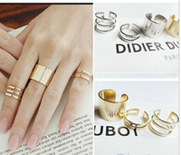 Wholesale 3Pcs Set Fashion rings Top Of Finger Over The Midi Tip Finger Above The Knuckle Open Ring NH