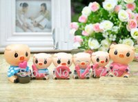 Wholesale 6pcs set Car Ornaments BIG pig doll gadget Resin craftwork Home Decoration Car Decoration clapboard den bedroom birthday gift