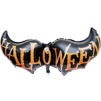 Wholesale Best Deal New Fashion Good Quality Halloween Black Long Bat wings Decorative Foil Balloons for Party Decorations PC