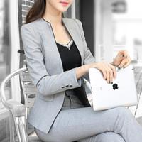 Cheap Slim work wear elegant women pant jacket OL fashion women's formal blazer set plus size office business suit pants female