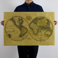ancient toilet paper - retro world maps kraft paper poster wall stickers room decoration home decals ancient global geographical mural art home decoratio
