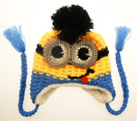 Wholesale Winter Knit Kids Minions Hat Crochet Handmade Beanies Baby Caps