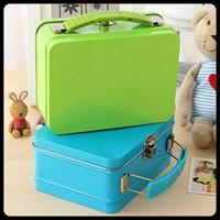 Wholesale 2 Pieces Mini Fashion candy color portable storage tin storage box with lock Metal Housekeeping Organization