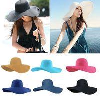 Cheap Foldable Wide Large Brim hat Best Ladies Fashion Straw Derby Cap