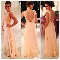 mesh ribbon - In Stock Peach Long Bridesmaid Dresses Sheer Lace Bateau Ribbon Sheer Mesh Big Discount Wedding Girl Party Dress