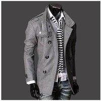 Men s woolen coat Preços-Moda Masculina moda Trench Coat, revestimento do inverno, magro Brasão Abotoamento homens meados de comprimento, casaco de lã Casacos M-XXXL chegam novas!