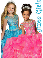 crystal ball beads - Ritzee Girls Ball Gown Cheap Little Girls Pageant Dresses Sheer Crew Hot Pink Layered Ruffle Organza Crystal Beads Girls Party Dresses