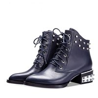 Wholesale Leather motorcycle boots pointed rivet Martin boots tide female lace up shoes autumn short boots