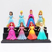 Wholesale Frozen Princess Figures Snow White Ariel Cinderella Aurora Belle Merida Rapunzel Elsa Anna PVC Figure Toys cm